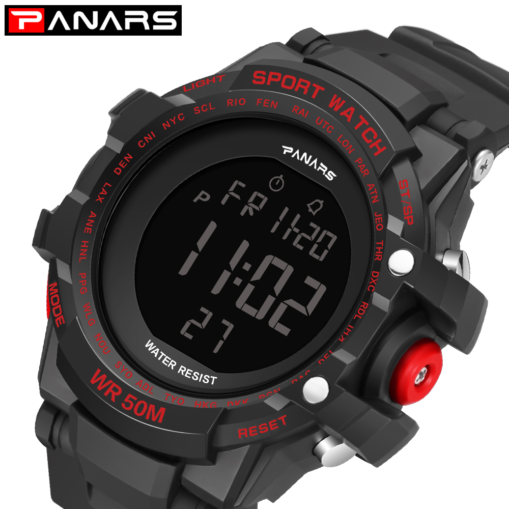 Sports-Watch Electronic-Watches Diving Digital PANARS Water-Resistant Dual-Time Mens