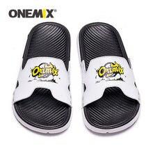 ONEMIX yaz erkek plaj sandaletleri rahat sandalet erkekler veya kadın terlik kapalı açık kadın sığ Flats ayakkabı erkekler 2019 yeni