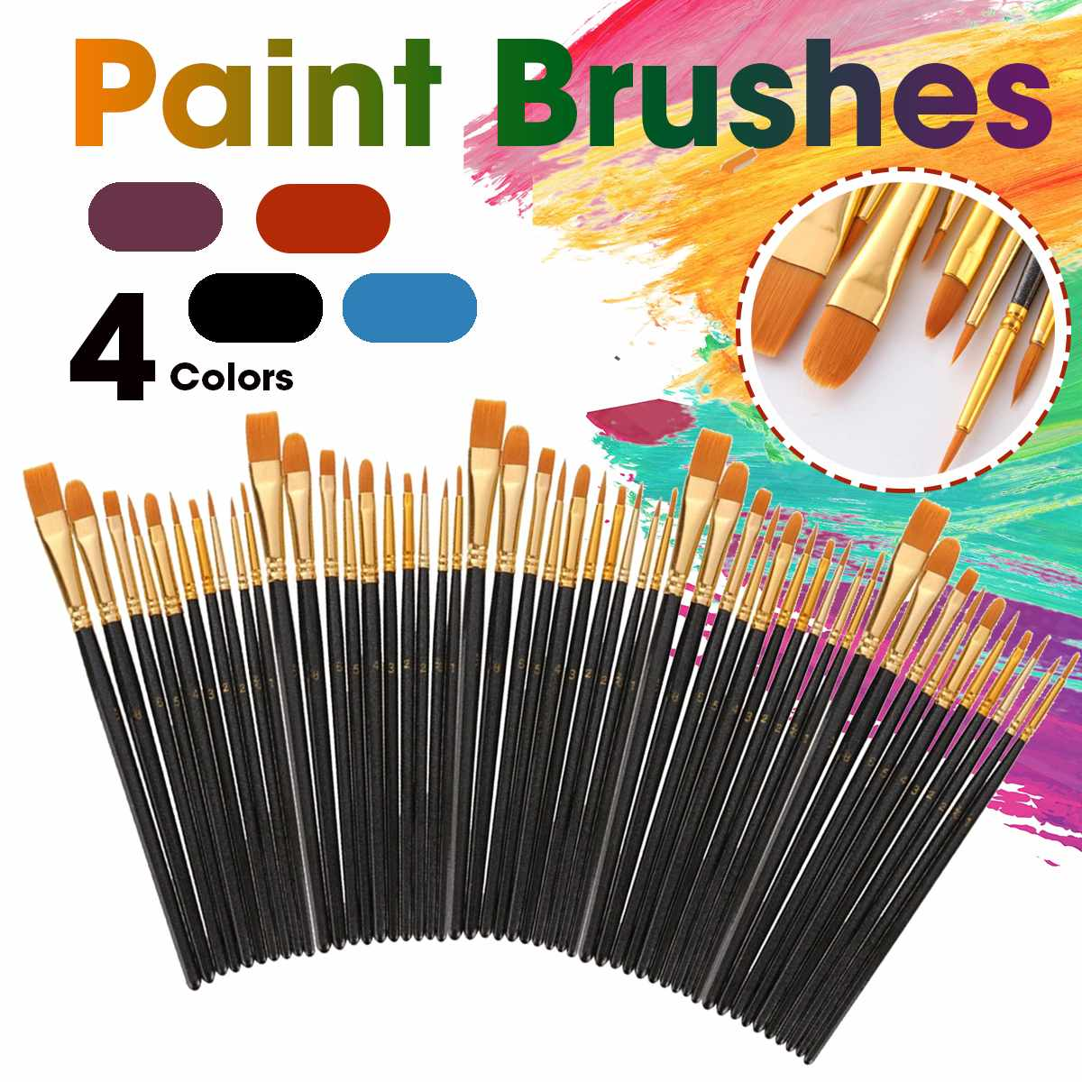 Nylon 50PCS Paint Brushes Wooden Handle Watercolor Paint Brush Pen Set Learning DIY Acrylic Painting Art Paint Brushes Supplies