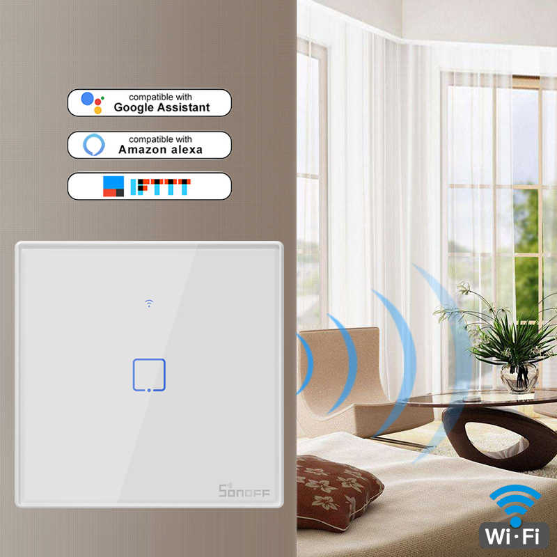 Смарт-коммутатор SONOFF T2 WiFi с 1 бандой, работает с Amazon Alexa и Google Assistant, совместим с функцией iftt