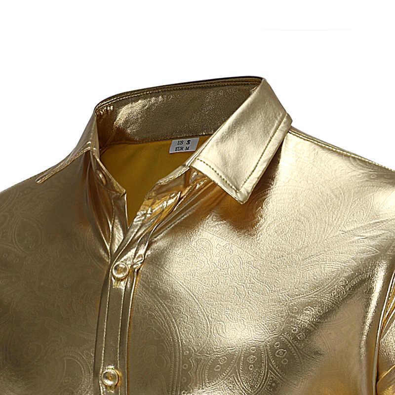 Camisas de manga larga de los hombres de Shenrun vestido de espectáculo de escenario Club de noche cantante de baile de moda Casual Camisa negro plata oro trajes
