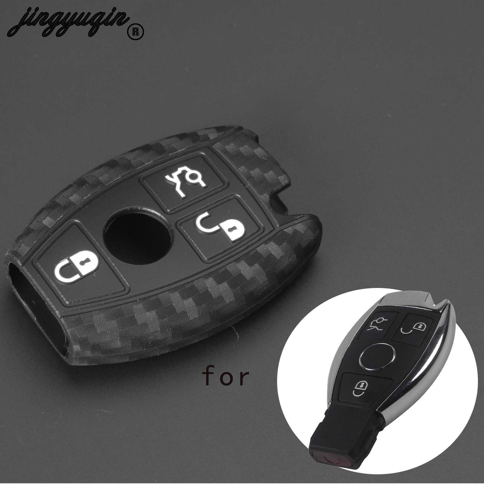 Jingyuqin Carbon Fiber Silicone Car Key Case Fob Cover For Mercedes Benz CLS CLA GL R SLK AMG A B C S Class 3 Buttons Protected