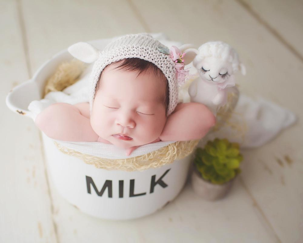 Milk Newborn Cup Baby Photography Prop Cute Newborn Bowl Baby Shower Gift,#P2901