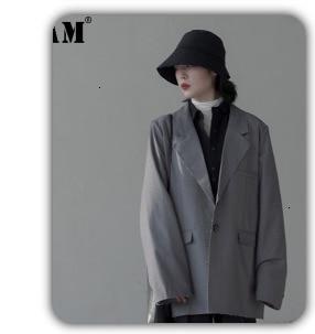 Hf7c31754ecc94d439806013f63f6c9c9Q [EAM] Loose Fit Black Hollow Out Pin Spliced Jacket New Lapel Long Sleeve Women Coat Fashion Tide Autumn Winter 2019 JZ500