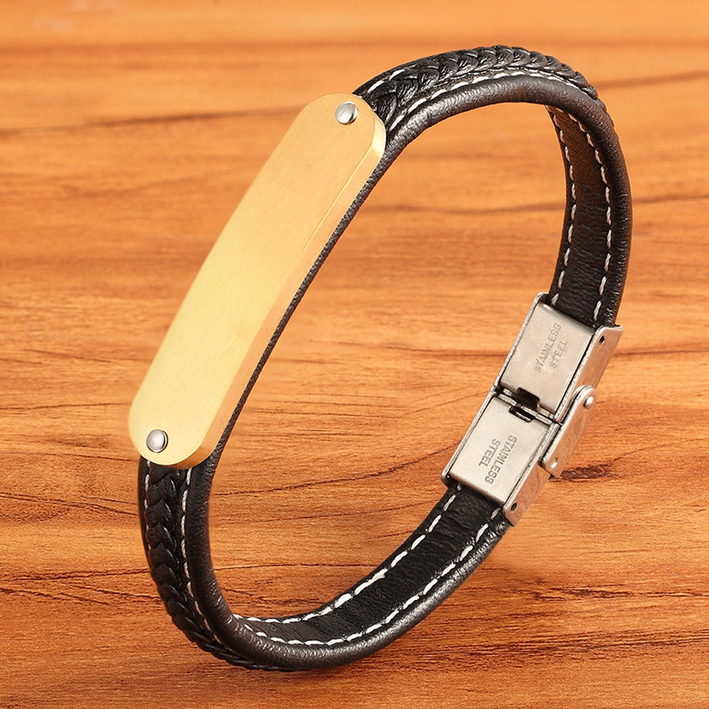 Stainless Steel Tri-Color Accessories Men's Leather Bracelet Hand-knitted Black Leather for Boys Commemorating Christmas Gifts