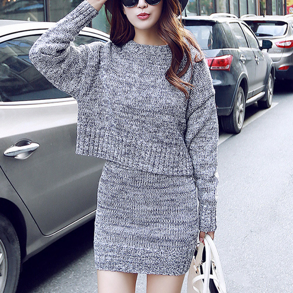 WENYUJH Autumn New Women Knitted Suit Set Solid 2 Piece Skirt Set Outfits Clothing Women Clothes Conjuntos De Mujer Femme Suits