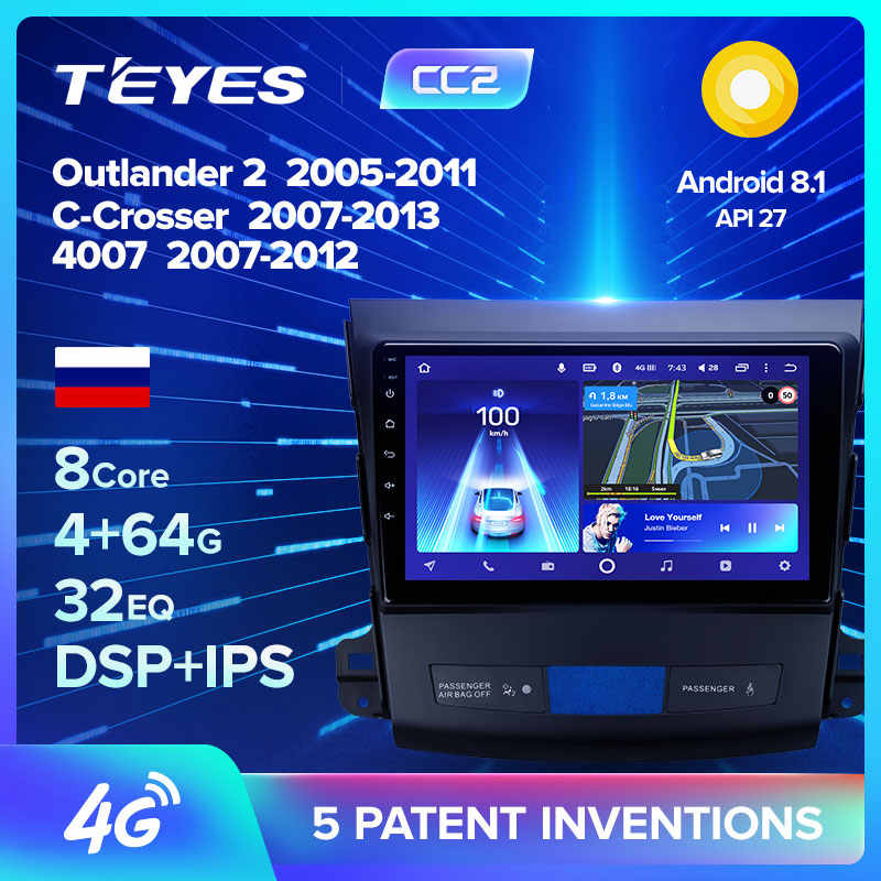 TEYES CC2 Per Mitsubishi Outlander 2 Per Citroen C-Crosser Per Peugeot 4007 Multimedia Video Player di Navigazione No 2 din dvd