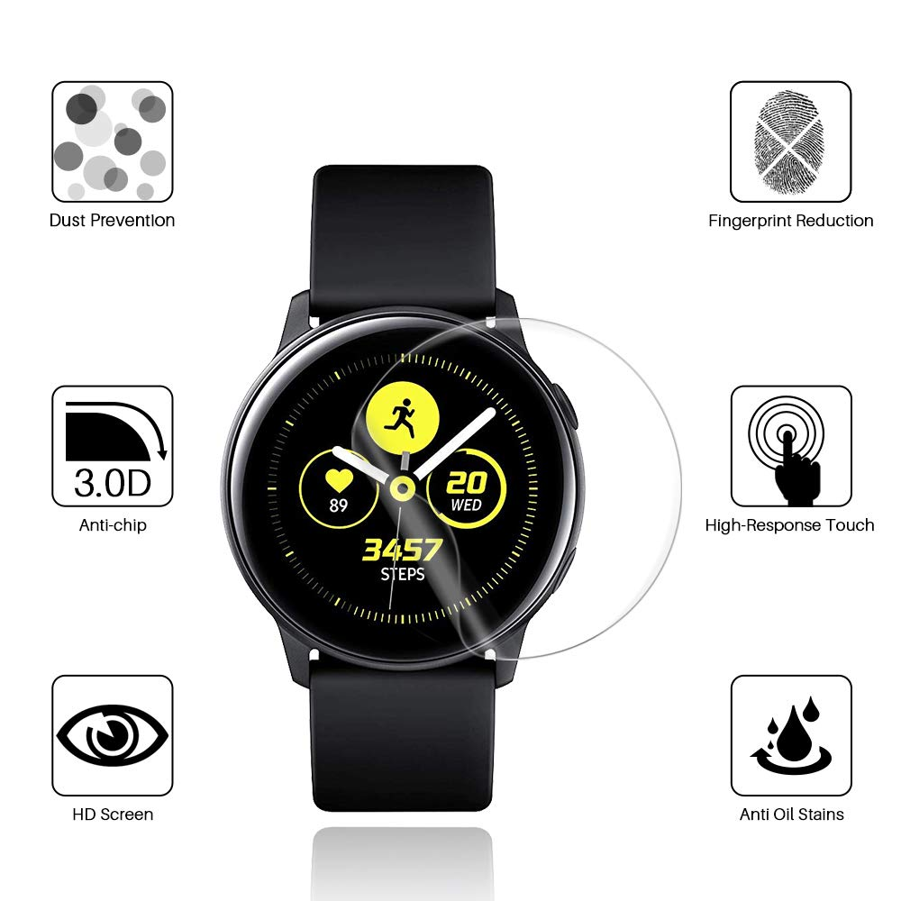 Screen Round Edge HD Protective Film For Samsung Galaxy Watch Active 2 40mm 44mm Smart Watch Clear Films Ultra-thin Full Cover