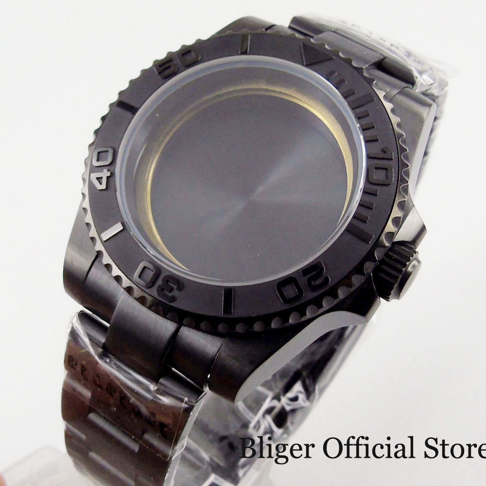 BLIGER High Quality 40mm Watch Case + Watch Bracelet Sapphire Glass Fit ETA 2836 MIYOTA Movement