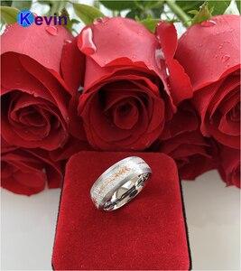 Image 3 - Anillo de boda de carburo de tungsteno para hombre y mujer, con Flecha de acero dorado rosa y incrustación de meteorito blanco, novedad