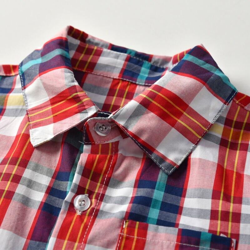 Emmaaby/Новинка года; классические рубашки в клетку с длинными рукавами и лацканами для мальчиков; сезон весна-осень топы с карманами; Повседневная рубашка для маленьких мальчиков детская одежда