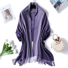 Femme Winter Scarf Solid Double Side Cashmere Lady Scarves Thick Tassels Pashmina Hijab Warm Foulard Stole