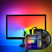 Окружающего освещения USB WS2812B 5050 RGB гибкий Светодиодные ленты DC5V изменяемый RGB компьютер MonitorBackground освещения легко DIY 5V
