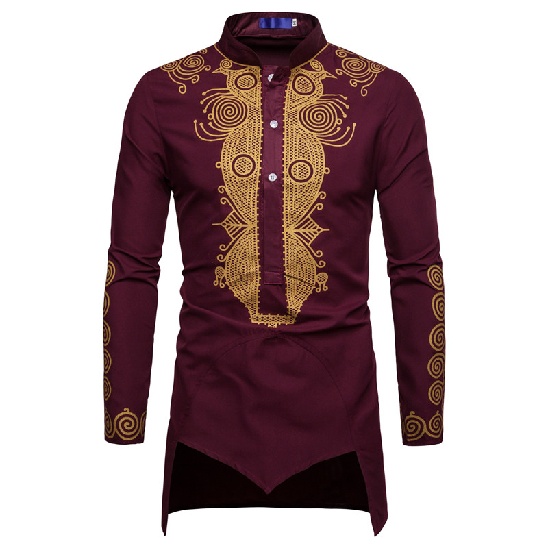 Men African Gold Polished Turtleneck  Totem Printed Half Button Shirt High Collar Asymmetrical Tailcoat Tunic Groom Top 3XL