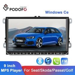 Автомобильный мультимедийный плеер Podofo, стерео-система 9 дюймов с емкостным сенсорным экраном, поддержкой Bluetooth, FM-радио, для Seat/Skoda/Passat/Golf