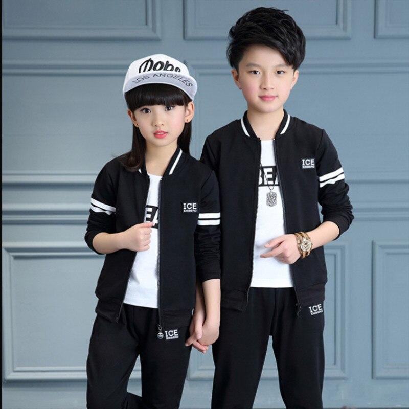 Vêtements pour enfants 3 pièces ensemble printemps automne garçons et filles sport survêtement enfants décontracté manteau + T-shirt + pantalon vêtements de sport vêtements P46