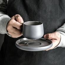 Набор керамических матовых серых кофейных кружек antowall в