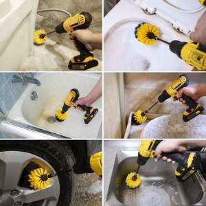 Image 4 - Electric Scrubber Brush Drill Brush Kit Plastic Round Cleaning Brush For Car Glass Car Tires Exterior Accessories