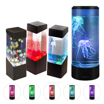 Led Jellyfish Night Light Home Aquarium Decoration Lights Bedside Lamp Creative Atmosphere Lights Fashion Beautiful USB Charging