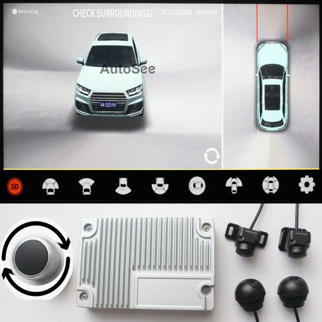 support HDMI, 2021 3D Key Queen Car 360 Camera AVM Panoramic around view parking monitoring video recording DVR knob control
