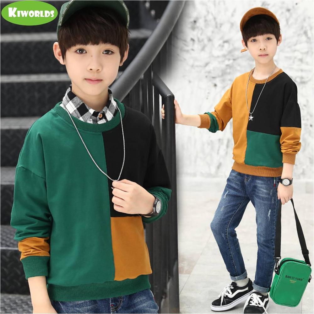 2021 Spring High quality long sleeve soft cotton boy black green khaki T-shirts fashion tops tees clothing for kids 2