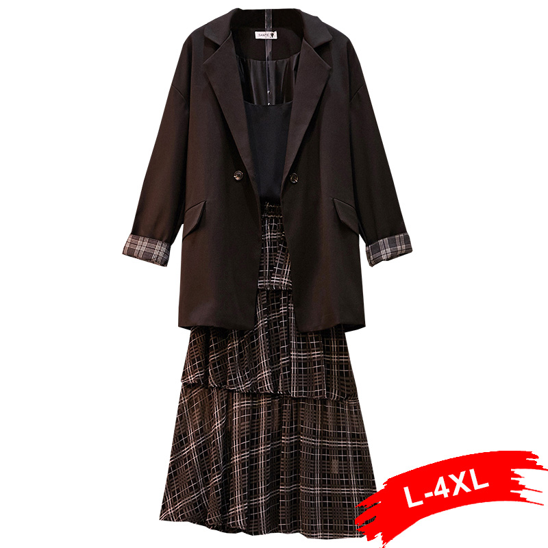 Plus Size Plaid Patchworked Long Sleeve Double Breasted Blazer Suits 3Xl 4Xl Elegant Women Work Wear With Ruffles Tiered Skirt