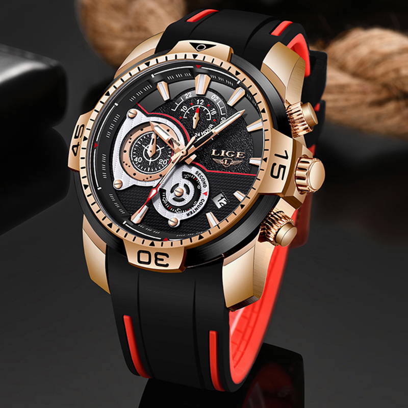 LIGE 2020 New Fashion Mens Watches Silicone Strap Top Brand Luxury Sport Chronograph Military Waterproof Watch Relogio Masculino