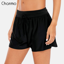 Charmo Women Swimming Shorts Patchwork Bikini Bottom Strappy Adjustable Swimwear