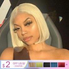 Perruque Lace Wig synthétique courte – Bella Bob, rose #613 blond, rouge citron, 10 couleurs disponibles, perruque Lolita Cosplay pour femmes