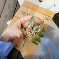 Vintage Green Color Plant Pearls Neroli Brooch Pin Tree Flower Enamel Brooches for Women Coath Accessories