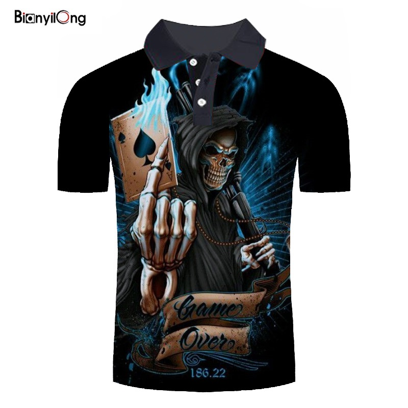 2019 New Men Polo Shirt Men's Fashion Skull Poker 3D Print Short Sleeves Polo Shirt Summer Casual Polo Shirt Polo Homme Tops