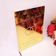 Anillo doble de acrílico personalizado con espejo para invitados, libro de firmas de invitados, boda, diamante, regalo de decoración para eventos y fiestas