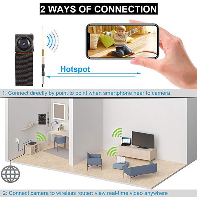 1080P Double lens Camera Wireless HD Mini Wifi Camcorder Motion Detection Home Security Cam Night Vision IP P2P Nanny Camera DVR