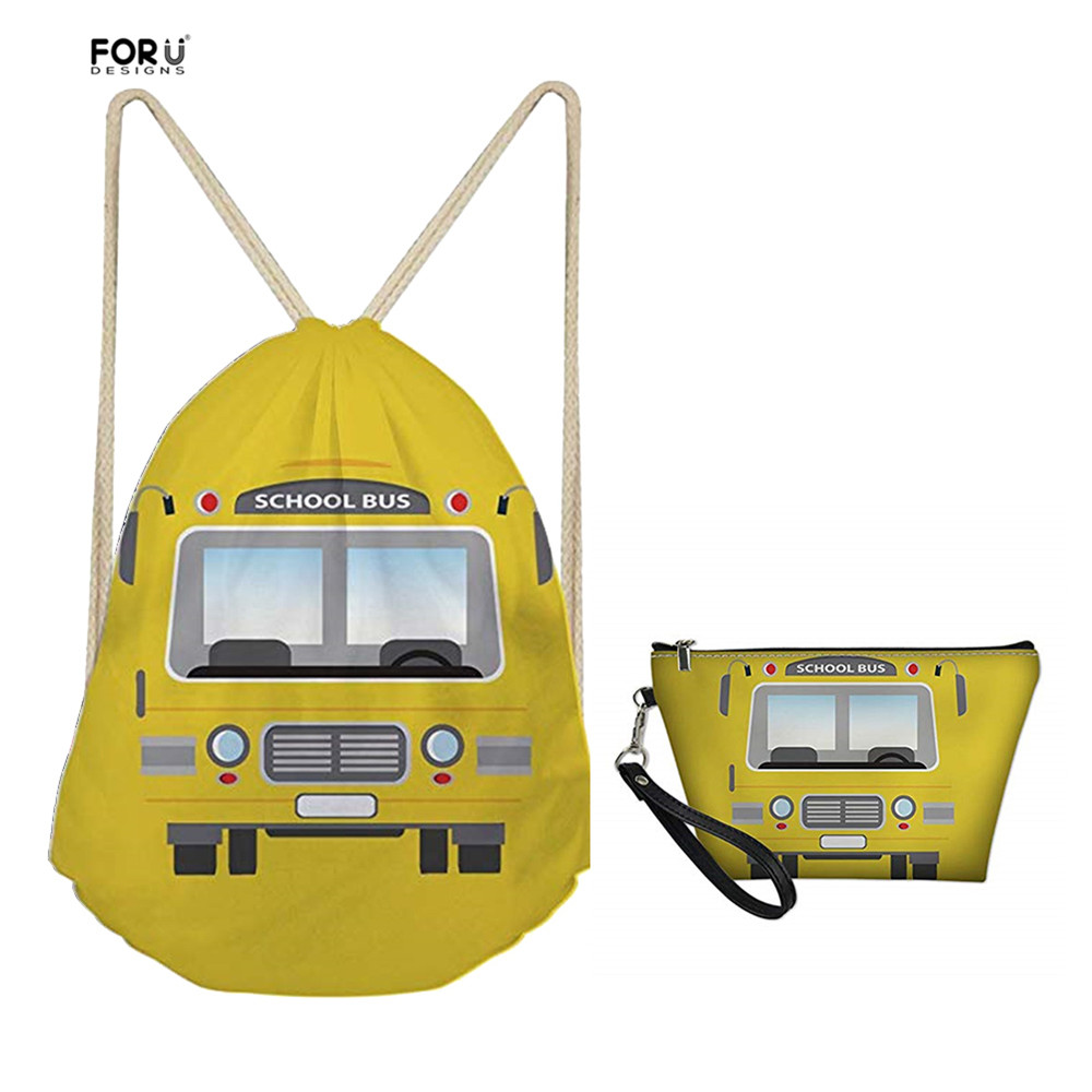 FORUDESIGNS Yellow Bus Pattern Drawstring Bags With Make Up Bags Sets For Kids Girls Boys School Bags Women Travel Light Mochila