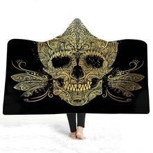 Skull Hooded Blanket For Adults Kids 3D Printed Plush Portable Wearable Soft Fleece Throw Home Travel Picnic