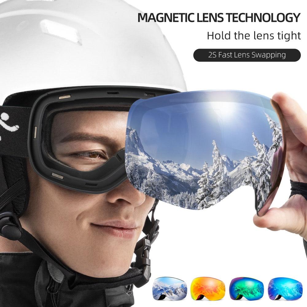 Copozz UV400 Snowboard Ski Goggles Protection Magnet Anti-fog Lens Ski Glasses Snow Skiing Glasses Big Mask Women Sunglasses