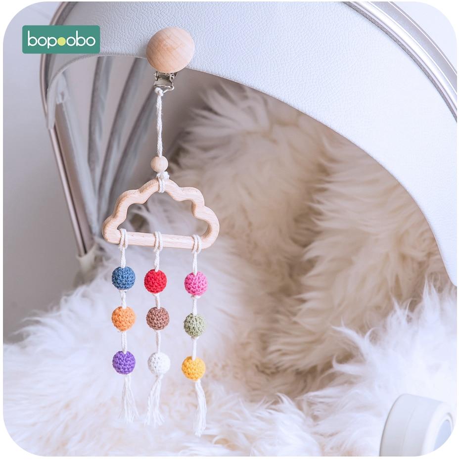 Bopoobo 1pc Food Grade Beech Wood Cloud Teether Crochet Beads Dummy Pacifier Clip DIY Wood Jewelry Making For Teeth Clip Chains