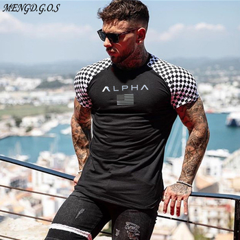 Black stitching cotton men's T-shirt brand casual street clothing fashion T-shirt men's short-sleeved round neck T-shirt men's c цена 2017