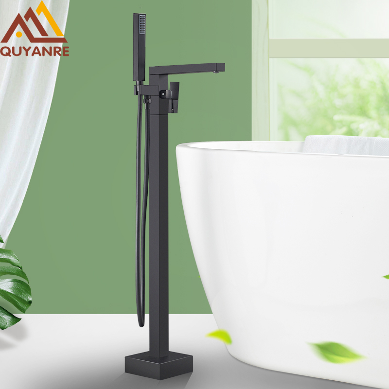 Quyanre Matte Black Square Bathtub Shower Faucets Floor Standing Faucet Hot Cold Water Shower Mixer Tap Bathroom Waterfall Mixer