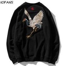 ICPANSPullover Sweatshirts Hoodies Harajuku Hip Hop Casual Streetwear Sweatshirt Tops Men Embroidery Crane  Fashion Hoodie