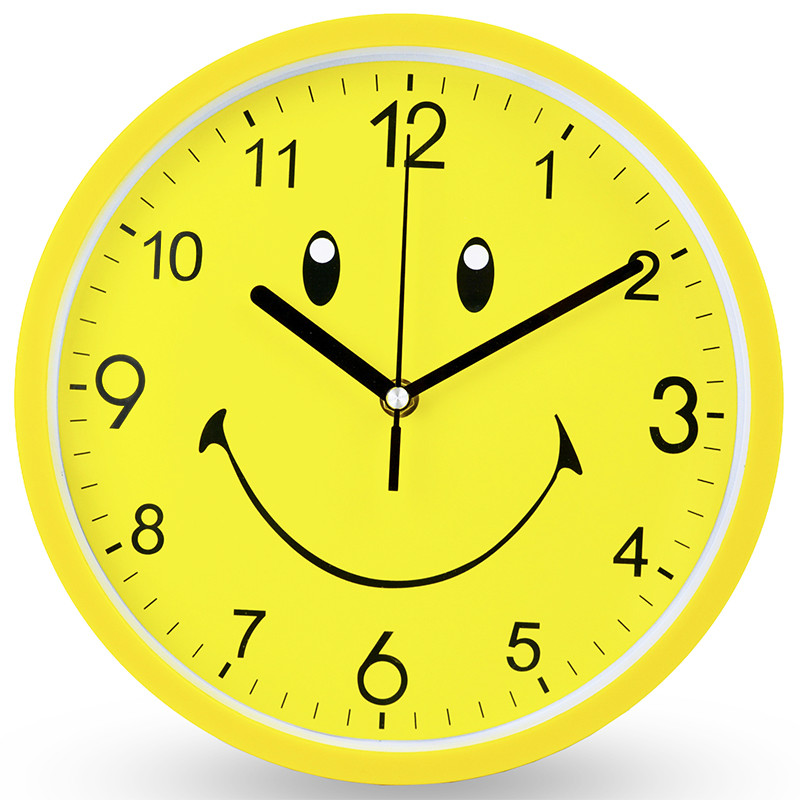 Cartoon Large Wall Clock Modern Yellow Smiley Face Kids Bedroom Silent Kitchen Clock Home Watch Promotion 2019 Reloj Decor SC205
