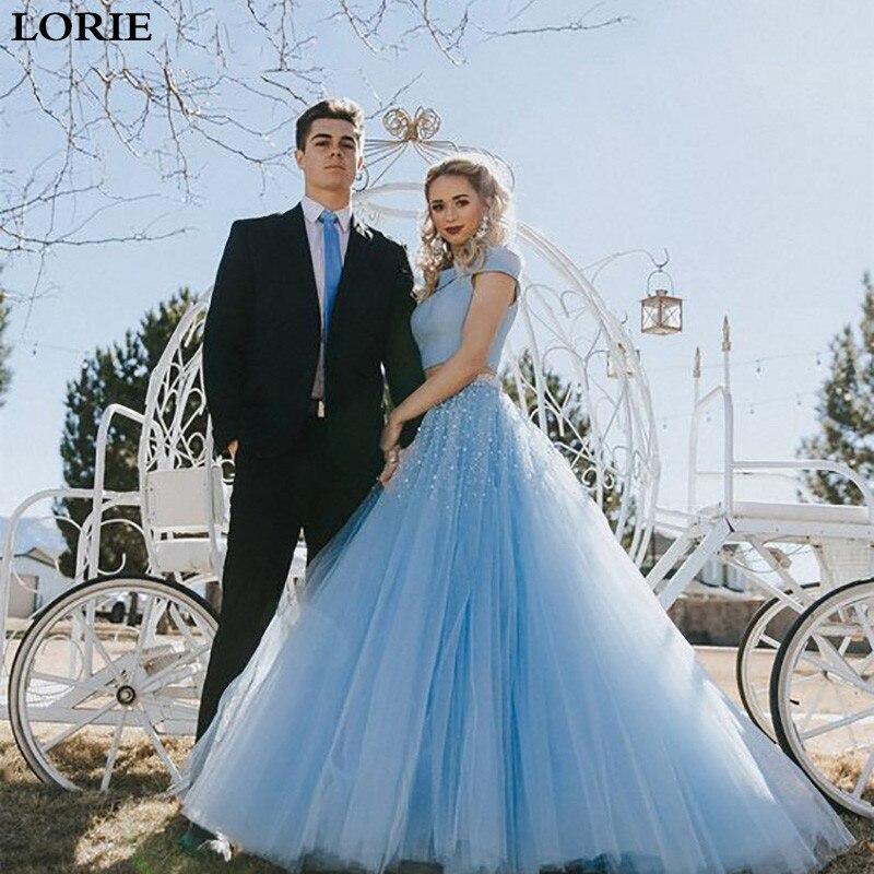 Lorie  Wedding Dresses 2 Pieces Vestido De Novia A Line  Puff Tulle Wedding Bride Dresses Floor Length
