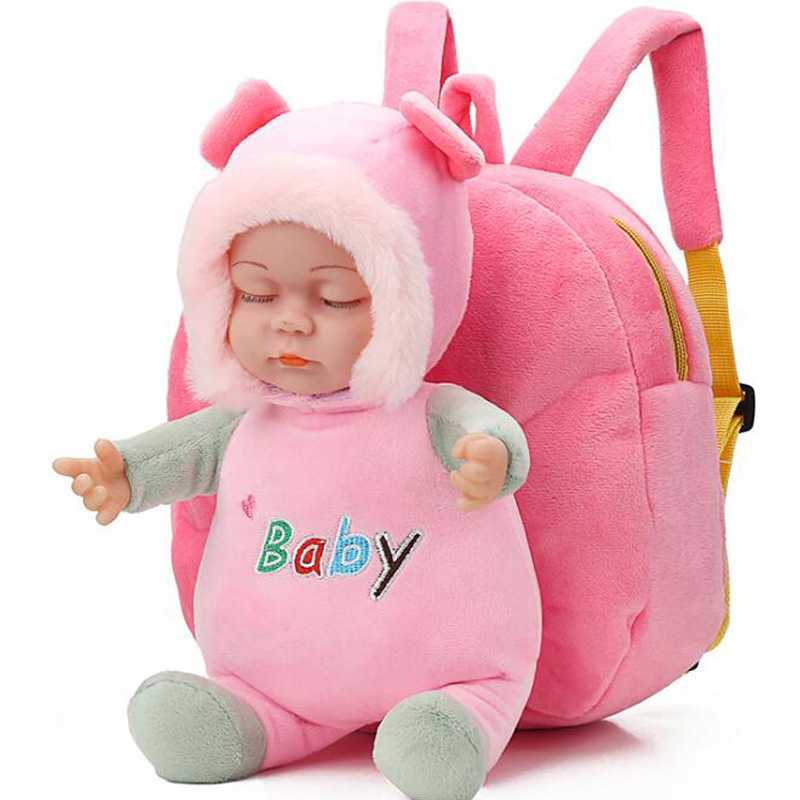 New Lovely 3D Baby Doll Plush Children Backpacks Kindergarten Schoolbag  Kids Backpack Children School Bags Girls Boys Backpacks