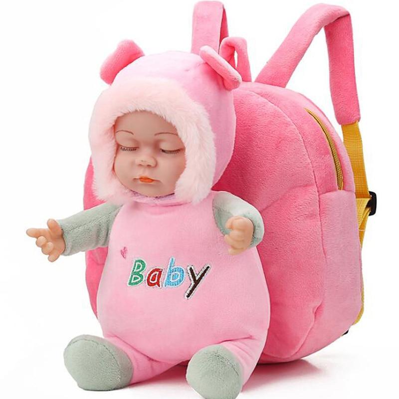 New Lovely 3D Baby Doll Plush Children Backpacks Kindergarten Schoolbag  Kids Backpack Children School Bags Girls Boys Backpacks