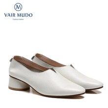Mulher bombas sapatos de boca profunda senhora genuíno simples couro de salto baixo único sapatos femininos verão sapatos femininos d309l