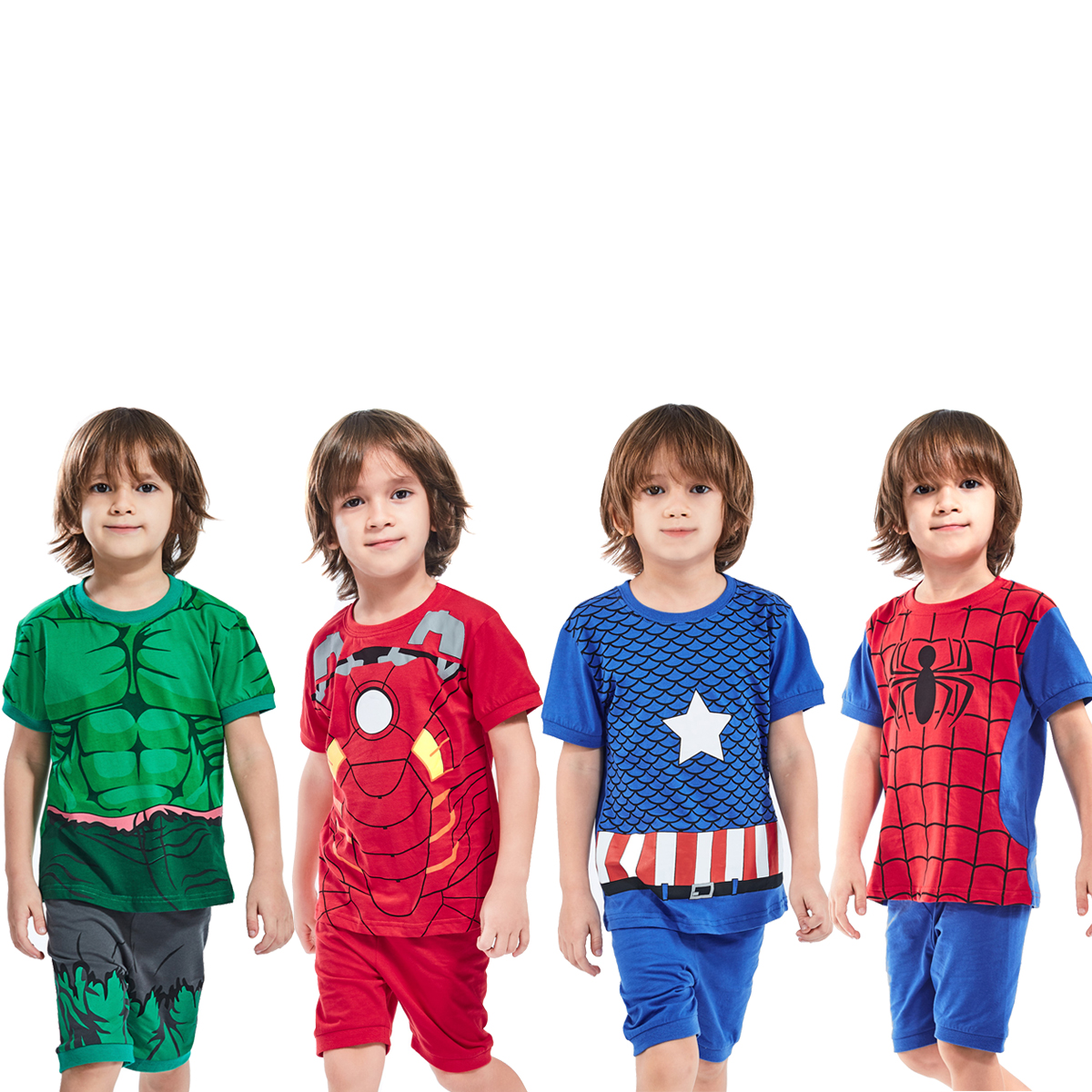 Kids Boys Pajamas Set Baby Toddler Superhero Sleepwear Dinosaur Pyjamas Child Nightwear Children Summer Cotton Pijamas