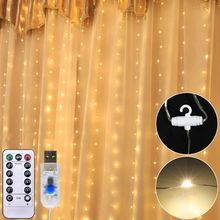 300LEDs USB Fairy String Light Curtain 8 Lamp Modes Holiday Wedding Home Bedroom Q84D for LED