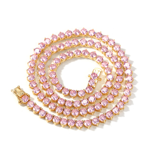 Image 4 - UWIN New Style 4mm Pink CZ Tennis Chain With Women Fashion Gift Necklaces Hiphop Bling Bling Cubic Zirconia Hiphop Jewelry