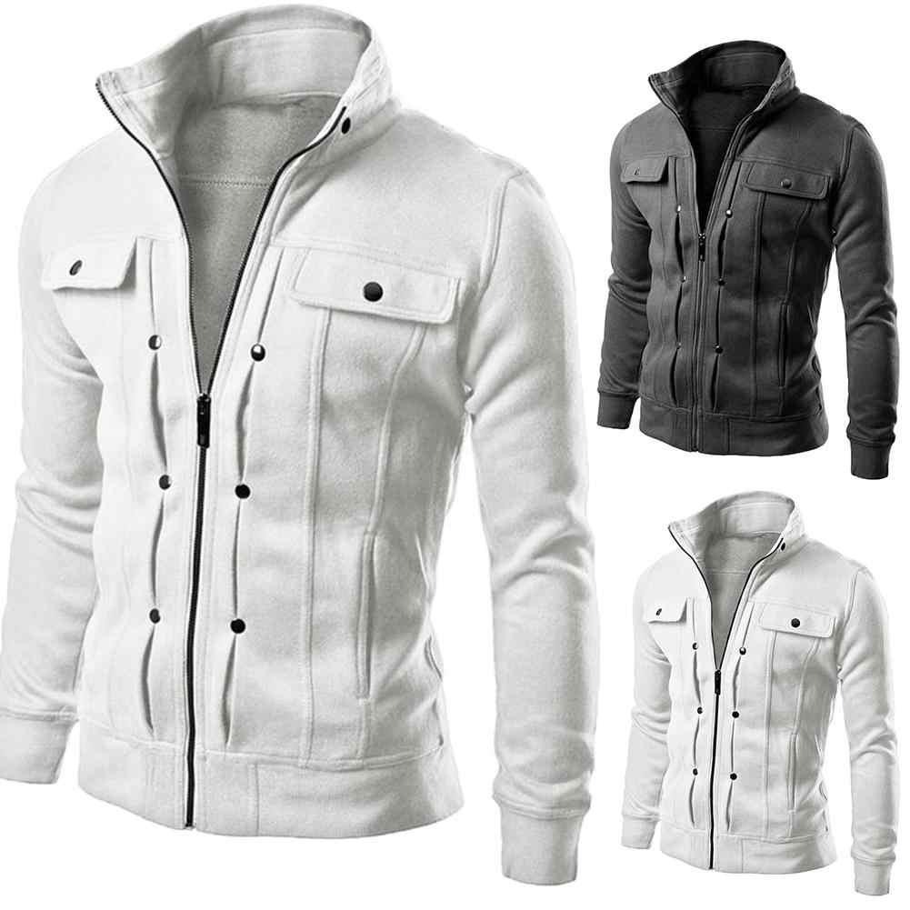 Kurtka męska kurtka baseballowa w stylu casual kurtki z suwakiem jesienno-zimowy płaszcz polarowy Bomber płaszcz stojak kołnierz moda męska odzież wierzchnia coa