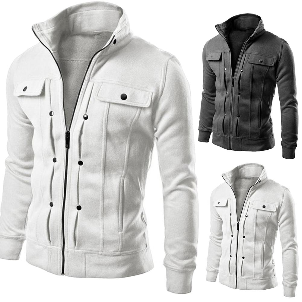 Jacket Men Casual Baseball Jacket Zipper Jackets Autumn Winter Fleece Coat Bomber Overcoat Stand Collar Fashion Male Outwear Coa